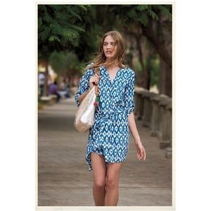 Anthropologie Maeve Ikat Dress Button Front M